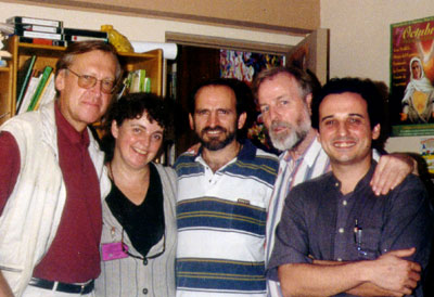 In the prison library: from left to right, Eugene Schoulgin, Marian, Jehude Simon Munaro, Jens Lohman and Carles Torner